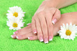 Woman hands with french manicure and flowers on green towel
