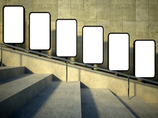 3d blank street advertising billboard, stairs