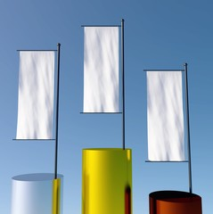 3d podium with empty flags