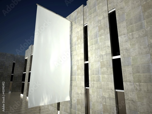 3d blank empty advertising flag on building wall