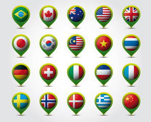 Country 3D pins with flags vector