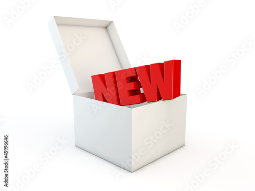New word in a box 3d render