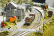 rural model railway station and train - 45997084