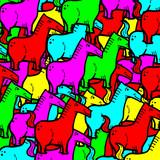 Imaginative color horses wallpaper poster
