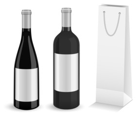 Set of two mock-up wine bottles and bottle gift bag