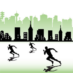 Athletes running near a city