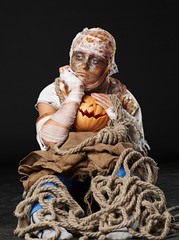 The sad mummy in the studio