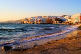 Sunset view of the Little Venice neighborhood of Mykonos, Greece