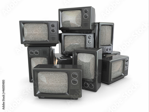 Heap of vintage tv. End of television