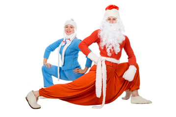 Santa Claus and the Snow Maiden of yoga