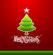 Merry Christmas lettering green tree background, vector