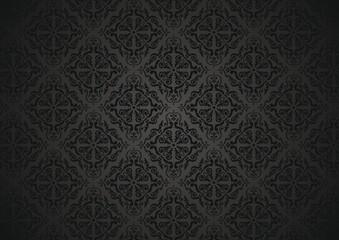 Black decorative  vintage  floral Wallpaper