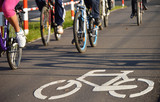 Fototapety Bicycle road sign on asphalt