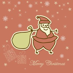 Santa with present on red background