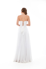 Happy beautiful bride back. Beautiful shoulders. Wedding dress