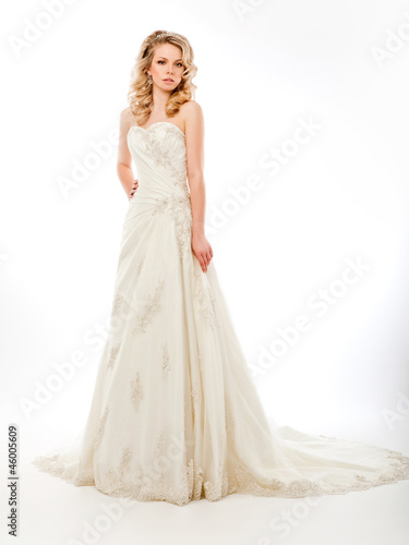 Beautiful pretty bride in  luxurious wedding modern dress