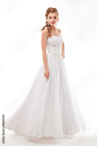 Newlywed beautiful woman in wedding dress - wedding style