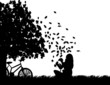Girl with bike playing in the park with leaves silhouette