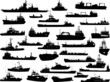 Set of 32 silhouettes of sea yachts, towboat and the ships