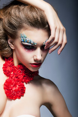 Theatre. Performance. Fashion woman. Bright stagy make-up