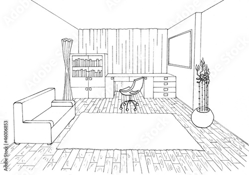 Quot Graphic Sketch An Study Room Quot Stock Photo And Royalty