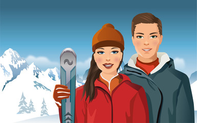 man and woman with skis in the mountains - vector illustration