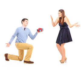 A male giving a gift and excited female