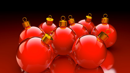 Chirstmas baubles in glossy red and golden