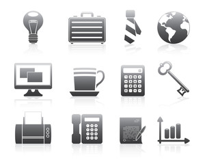 Business Icons Set Silhouette Series