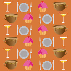 background set of drinks and food on a brawn
