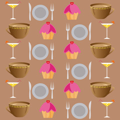 background set of drinks and food on a brown