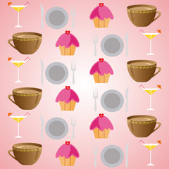 background set of drinks and food on a pink