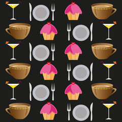 background set of drinks and food on a black