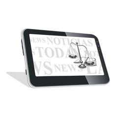 Tablet pc con noticias sobre leyes