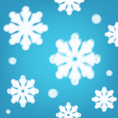 Blue background with transparent snowflakes.