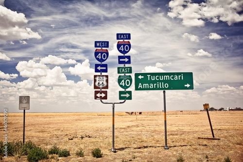 Poster Route 66 intersection signs