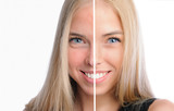 Face of beautiful woman before and after retouch poster