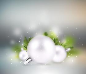 Christmas background: decorative balls on colorful background