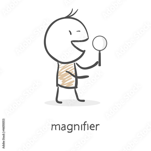 Cartoon man holding a magnifying glass
