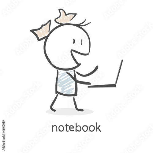 Cartoon girl and laptop