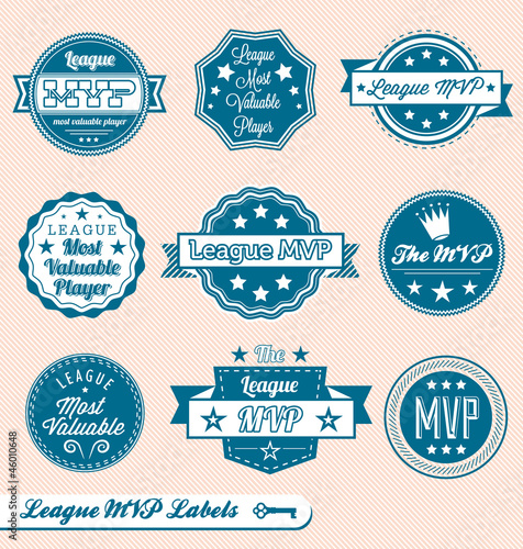 Vector Set: Vintage League MVP Award Labels and Icons