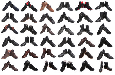 plenty of different male shoes isolated over white collage