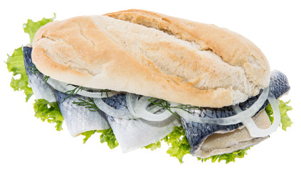 Herring Filet on a baguette (against white)