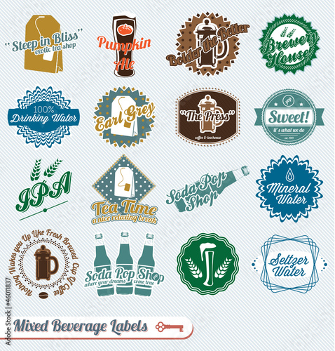 Vector Set: Vintage Beverages Labels and Icons