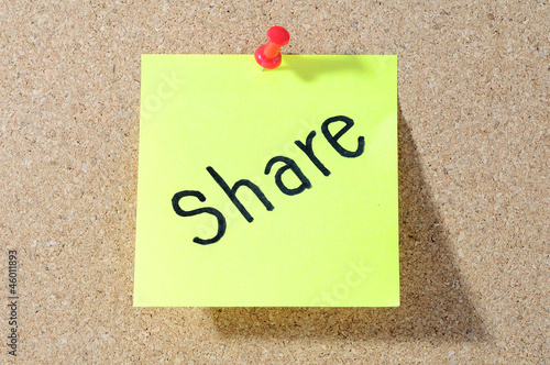 SHARE sticky notes, postit isolated on  background
