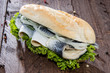 Fish Sandwich on wooden background