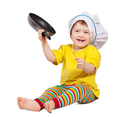Baby cook with  griddle. Isolated over white