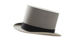 Vintage gray felt top hat with black band
