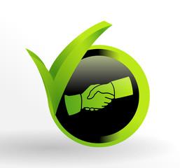 icône poignée de mains sur bouton vert et noir