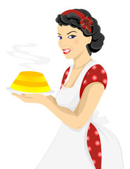 Illustration of beautiful woman posing with cake